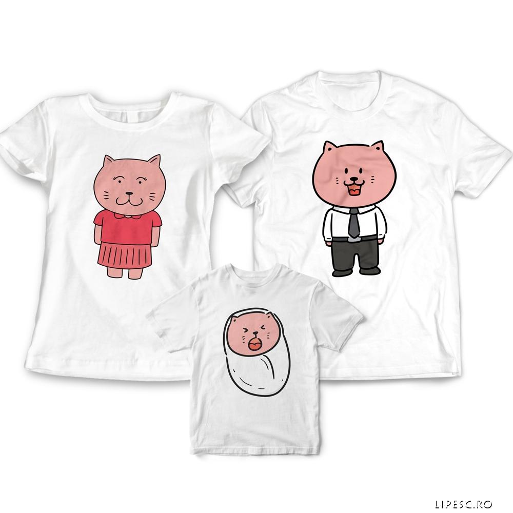 Tricouri familie cu pisici