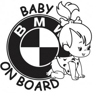 Sticker baby on board BMW fetita