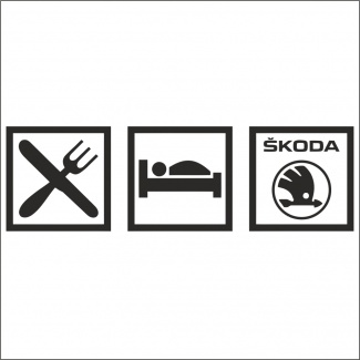 Sticker eat or sleep skoda