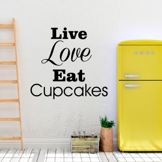 Sticker live love cupcakes