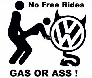 Sticker devil no free rides vw